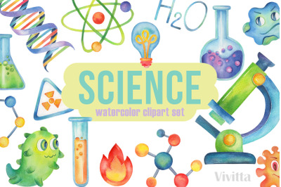 Science Party watercolor clipart,Chemistry