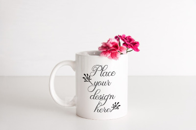 Mockup mug sublimation coffee minimal cup mock up pink stock photo
