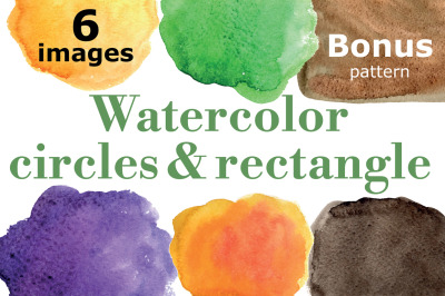 Watercolor circles vector set