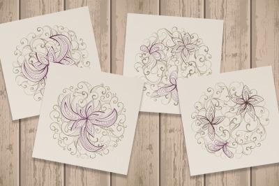 Set of Floral round patterns.