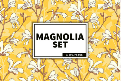 Magnolia flowers blooming set