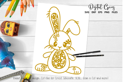 Rabbit paper cut design. SVG, DXF, PNG, EPS files
