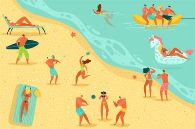 Beach people relaxing. Persons swim sunbathing women men kids water ga