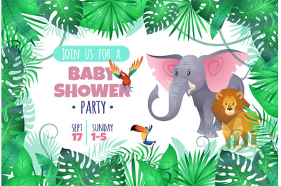 Tropical baby shower. Elephant lion in jungle, african young adorable