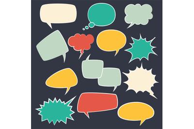 Speech frames. Speak kids bubble set with speaking vintage talk comic
