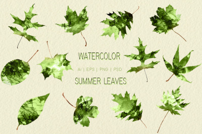Watercolor Summer Leaves