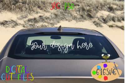 Car Mockup Full Rear View Beach Scene