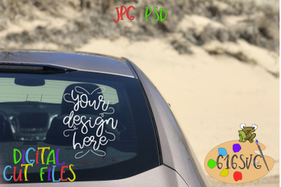 Car Mockup Right Rear View Beach Scene