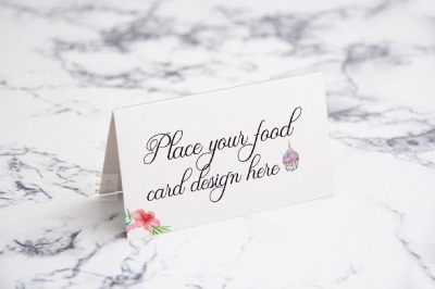 Mockup table food guest tag tent card psd buffet mock up name tag