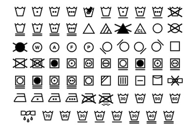 Laundry Care Symbol Icons Set