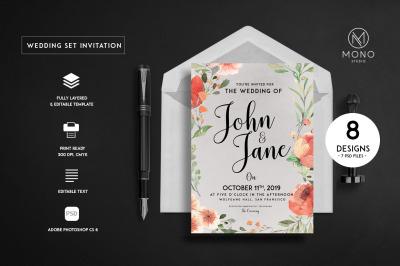 Vintage Wedding Set Invitation