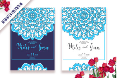 Invitation Frame Template with Mandala Ornament