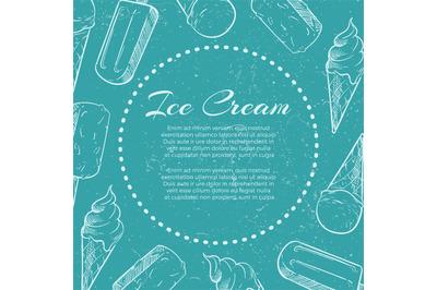 Hand drawn ice cream on grunge back - ice cream grunge banner