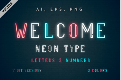 Multicolored Vector Neon Type - Welcome