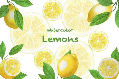 Lemons watercolor set