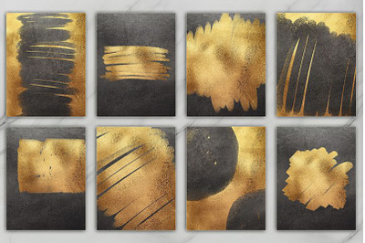 Gold and Black Brush & Foil 20 Textures