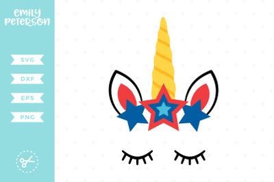 Patriotic Unicorn Face SVG DXF