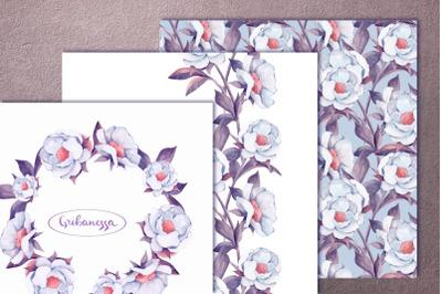 Set for design. White flowers