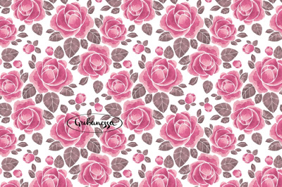 Pattern with roses. Watercolor