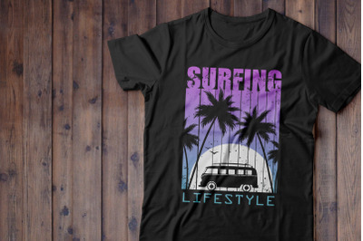 Print for T-shirt, Night Surfing