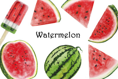 Watermelon watercolor set