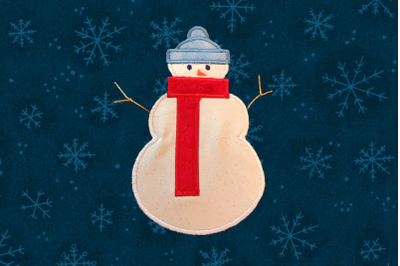 Snowman With Scarf | Applique Embroidery