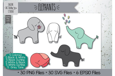 30 Elephant Hand Drawn Illustrations Bundle