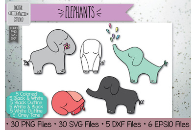 30 Elephant Hand Drawn Illustrations Bundle