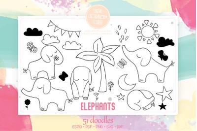 Hand Drawn Elephants | Jungle Animal, Sun, Moon, Flower, Tree, Star
