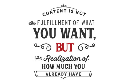 Content is not the fulfillment of what you want,