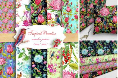 Watercolor Seamless Patterns,Hummingbird patterns