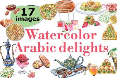 Watercolor eastern sweets