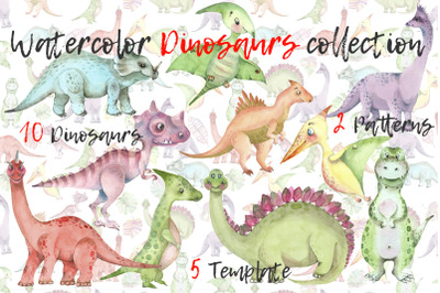 Dinosaurs watercolor set