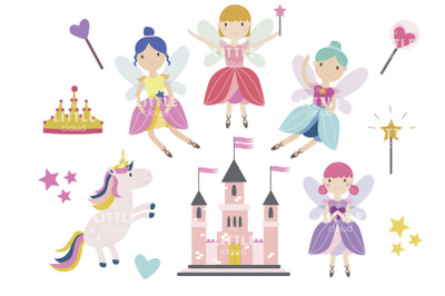 Fairy tale clipart, cute little fairies