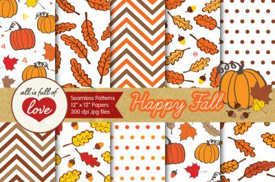 Happy Fall Digital Papers Autumn Background Patterns Hand Draw Seamless Patterns Printable