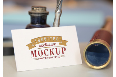 Photorealistic mock-ups with antique vintage background