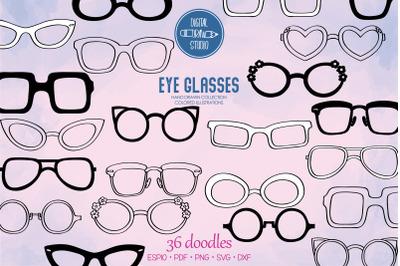 Glasses, Nerd Frames, Eye wear, Sunglasses, Hand drawn shades