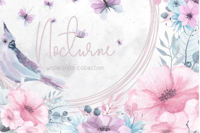 Nocturne. Watercolor  flowers