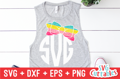 Distressed Bow   Monogram Frame   SVG Cut File