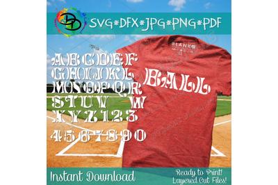 Baseball SVG, Baseball font, alphabet, baseball letters, numbers svg,