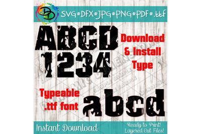 Distressed font svg, grunge font, alphabet svg, Vintage font svg, mono