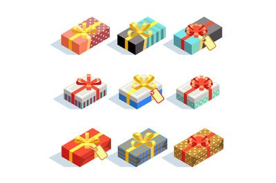 Set of colored 3D giftboxes with ribbons isolated
