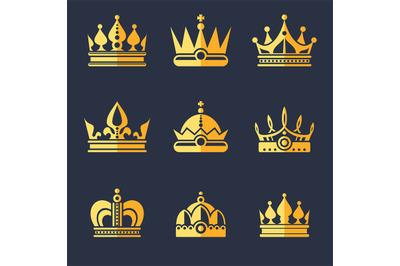 Set of rich golden crowns. Vector flat illustration
