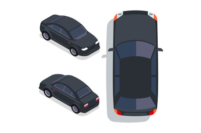 Vector flat-style cars in different views. Black sedan