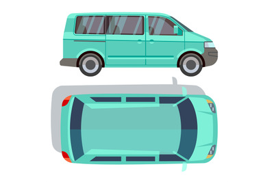 Vector flat-style cars in different views. Blue minivan