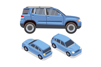 Vector flat-style cars in different views. Blue suv