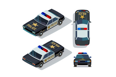 Vector flat-style cars in different views. Isometric police car