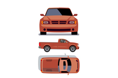 Vector flat-style cars in different views. Orange pickup truck