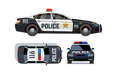 Vector flat-style cars in different views. Police car