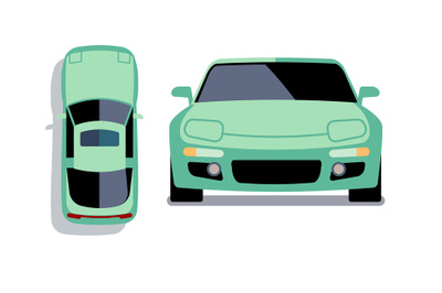 Vector flat-style cars in different views. Turquoise sport car